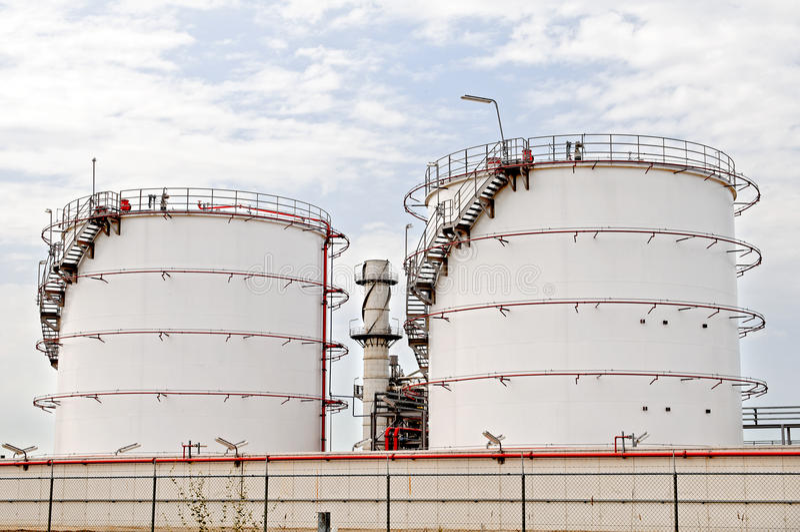 Oil depot storage tanks royalty free stock photos
