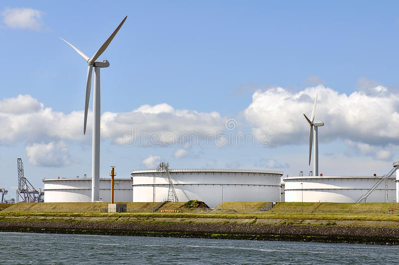 Download Oil Depot With Wind Turbines Stock Photo - Image: 19919082