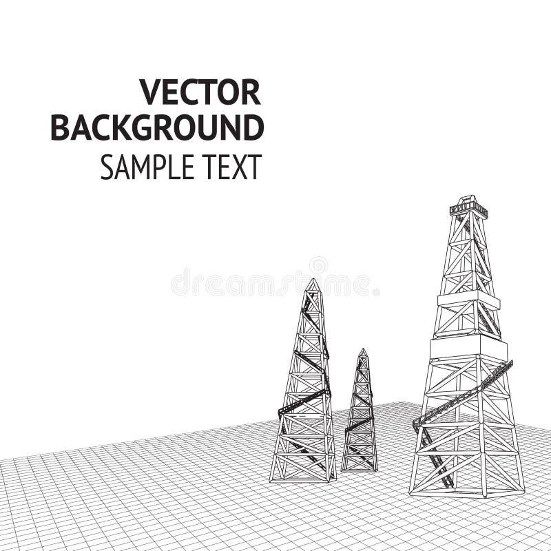 Oil derrick background vector illustration