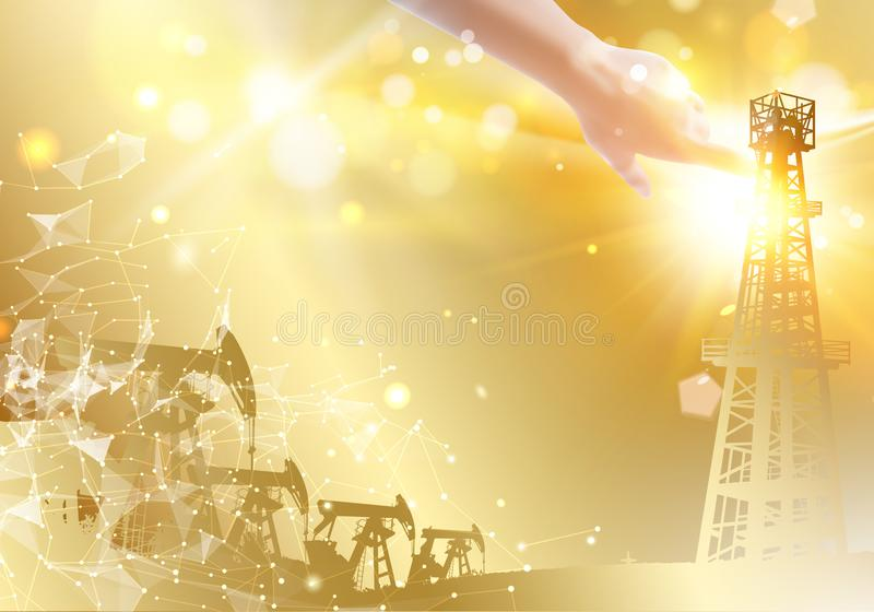 Oil derrick industrial machine for drilling. Polygonal form with dots and lines. Abstract futuristic background with. Polygons and lines. Oil field image with stock illustration