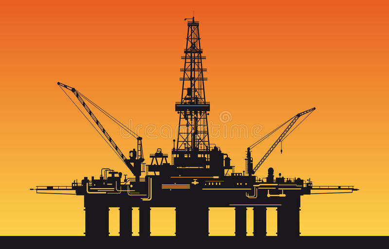Oil derrick in sea vector illustration