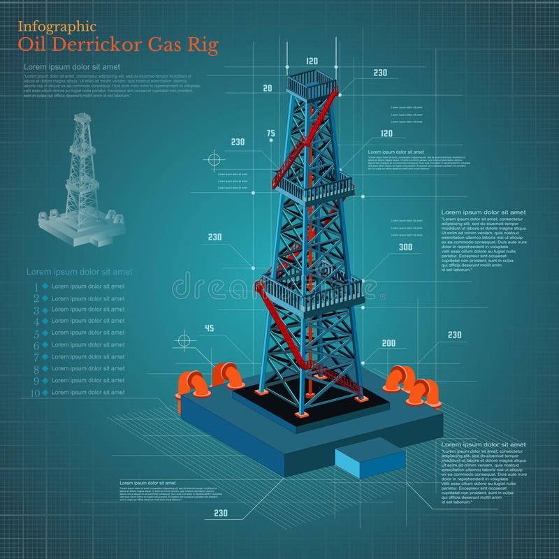 Oil derrick tower or gas rig infographic on blue scheme paper vector illustration