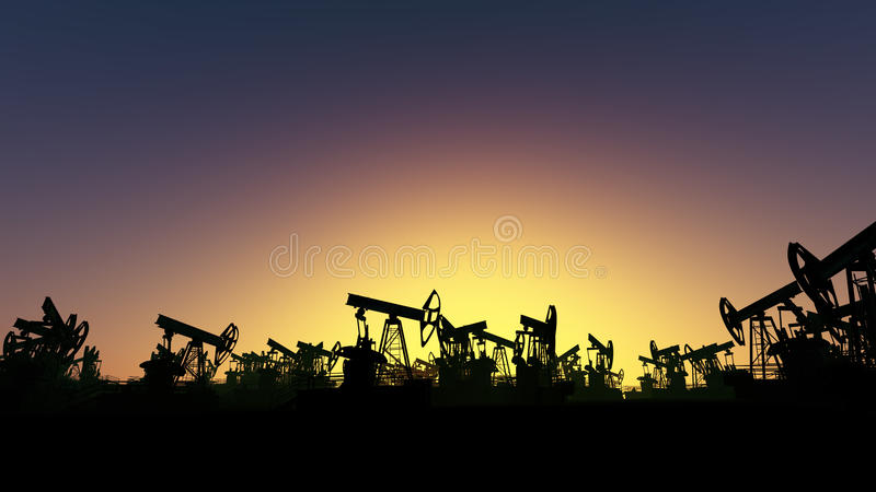 Oil Derricks Field stock photos