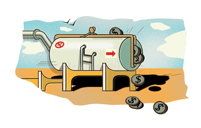 Oil dollars. A crowded tank of oil in the form of a purse from which the dollar coins pour out. The price of oil. Digital stock illustration
