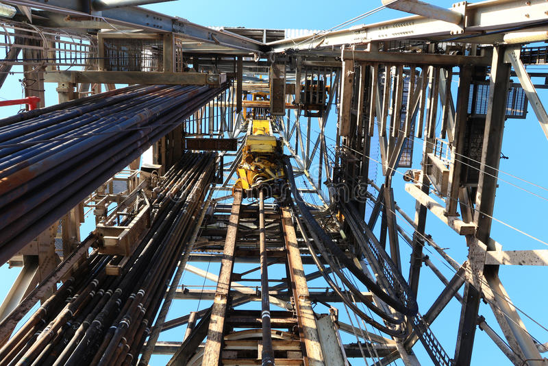 Oil Drilling Derrick with Top Drive. Drill Pipe, Kelly Hose For Oil and Gas Exploration stock images