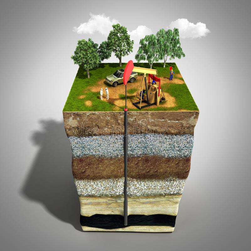 Oil drilling exploration concept Engineer writing on the paper i. N front of the natural gas pipes Refinery gas and oil Flat 3d illustration For infographics and stock illustration