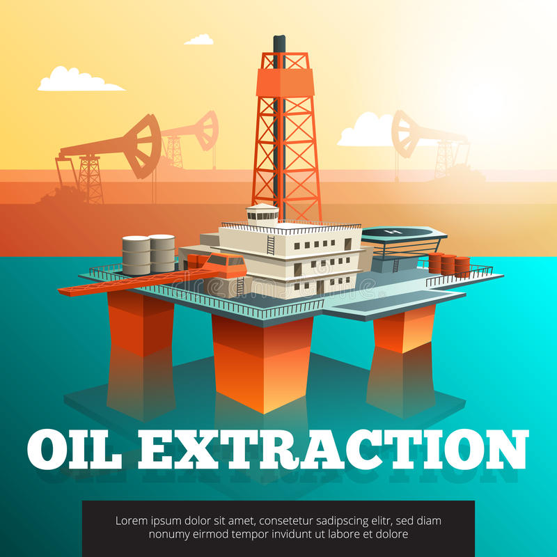 Oil Drilling Offshore Platform isometric Poster royalty free illustration