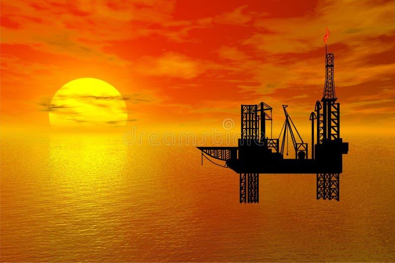 Oil-drilling platform. Sunset over sea with oil-drilling platform in front vector illustration