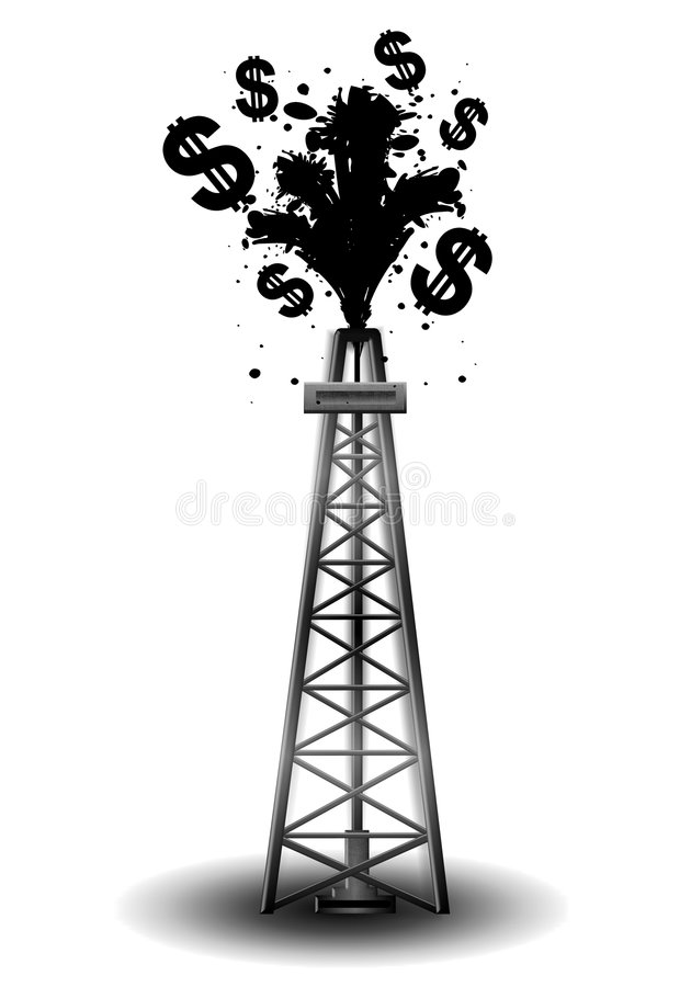 Oil Drilling Rig With Black Money. An illustration featuring an oil drilling rig with black crude and dollar signs spilling above stock illustration