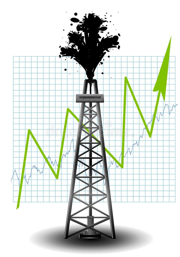 Oil Drilling Rig With Chart Arrow. An illustration featuring an oil drilling rig in front of a chart with green arrow pointing upward vector illustration