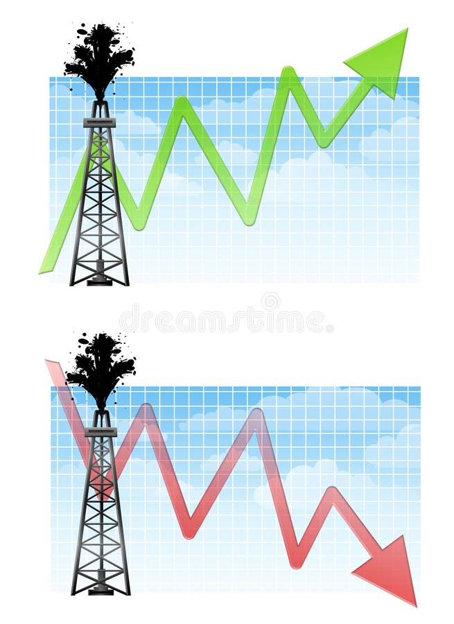 Oil Drilling Rig With Charts. An illustration featuring an oil drilling rig in front of a chart with green arrow pointing upward and red arrow pointing downward stock illustration