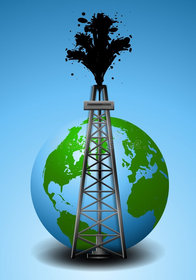 Oil Drilling Rig and Earth. An illustration featuring an oil drilling rig in front of the planet Earth and blue background with oil spilling up into the sky vector illustration