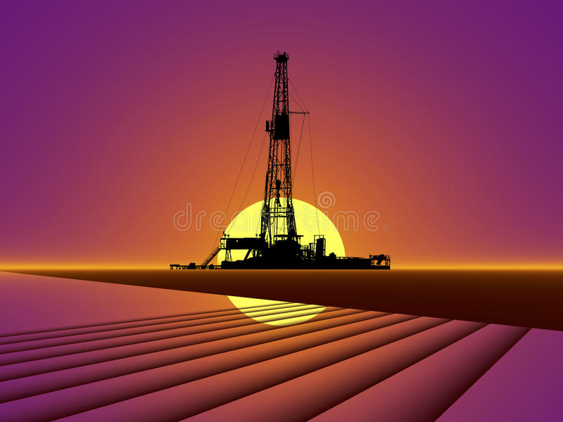 OIL GAS DRILLING RIG AT SUNSET. Oil Drilling Rig with Red Sunset Background royalty free stock photography