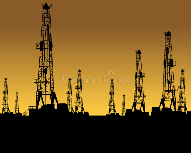 OIL GAS INDUSTRY. Silhouette of nine land based oil drilling rigs during oil boom concept. oilfield oil gas industry industrial drill driller drilling rig pump