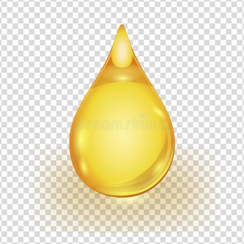 Oil gold drop isolated on transparent background stock illustration