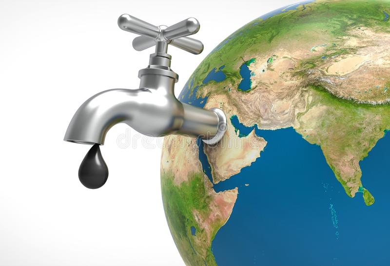 Oil drop leaking and faucet on earth planet. Oil and Gas concept vector illustration