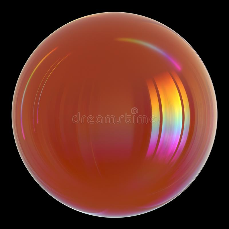 Oil drop petrol gasoline oil droplet orange glossy sphere ball icon stock illustration