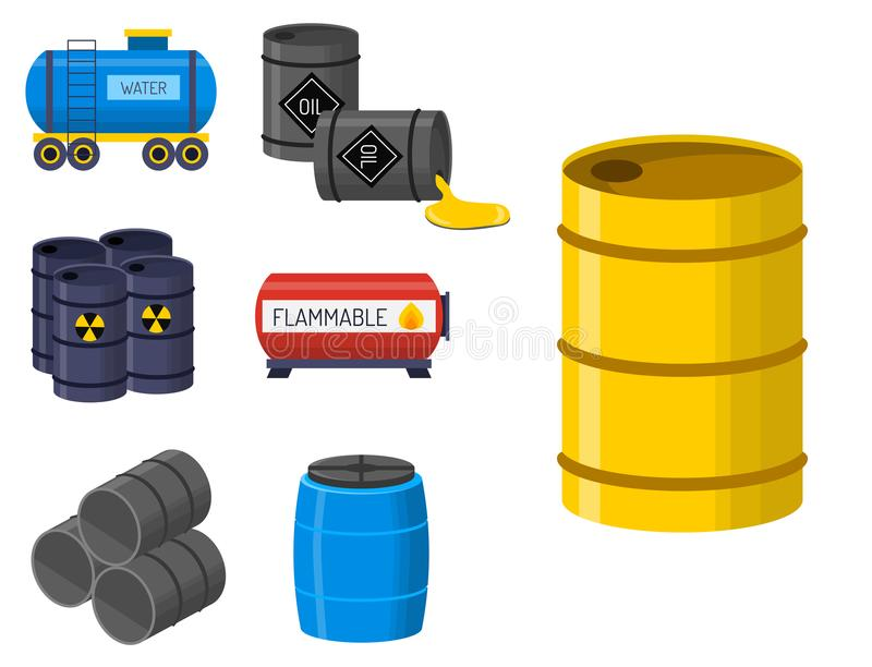 Oil drums container fuel cask storage rows steel barrels capacity tanks. Stack different oil drums fuel container liquid cask storage object. Rows of steel vector illustration