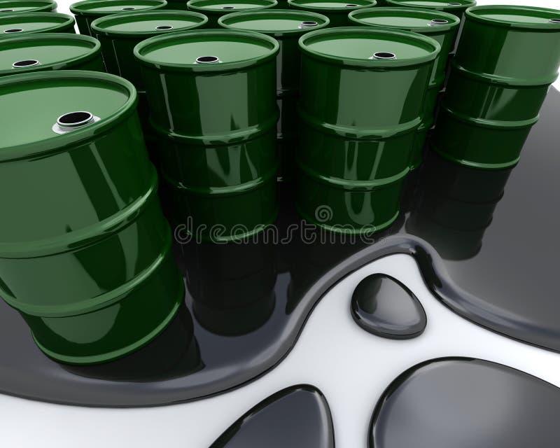 Oil drums sat in spilt oil stock illustration
