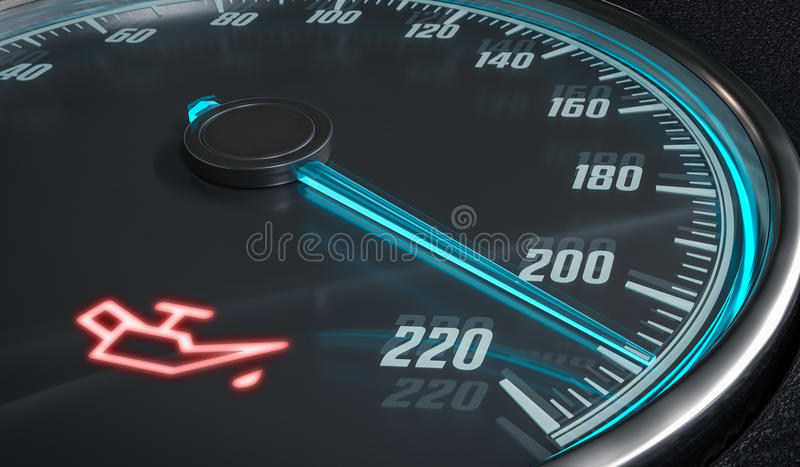 Oil and engine malfunction warning light control in car dashboard. 3D rendered illustration.  stock illustration