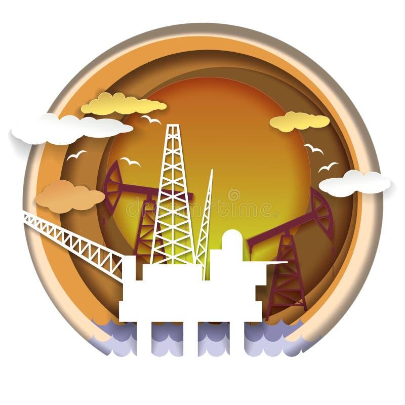 Oil industry concept vector illustration in paper art style vector illustration
