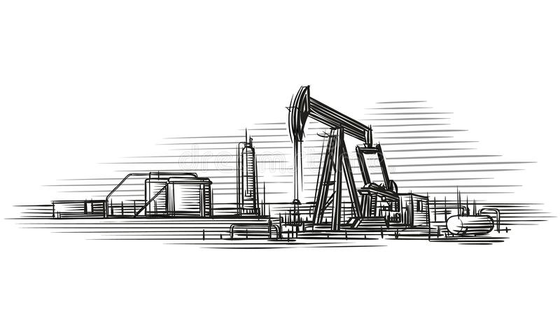 Oil extraction isolated vector illustration. vector illustration