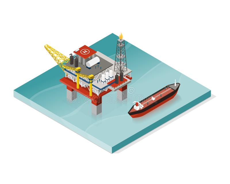 Oil extraction platform and oil tanker royalty free illustration