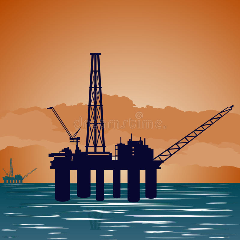 Oil extraction tower stock illustration
