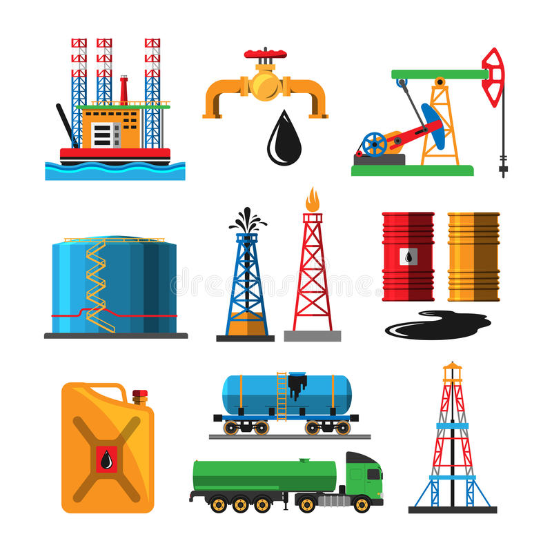 Oil extraction transportation vector illustration stock illustration