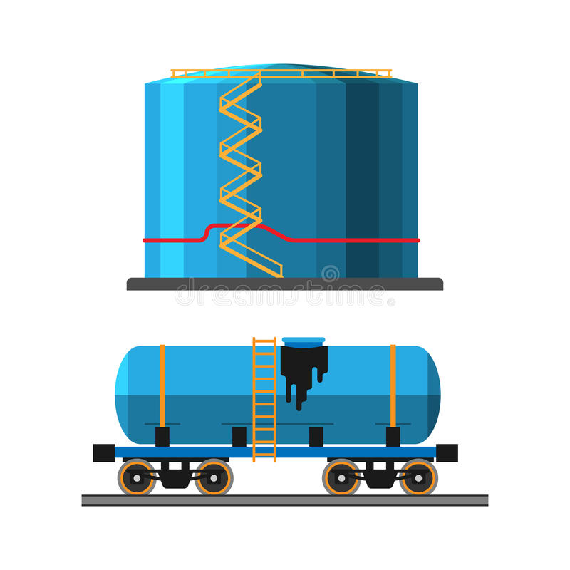 Oil extraction truck and container vector illustration stock illustration