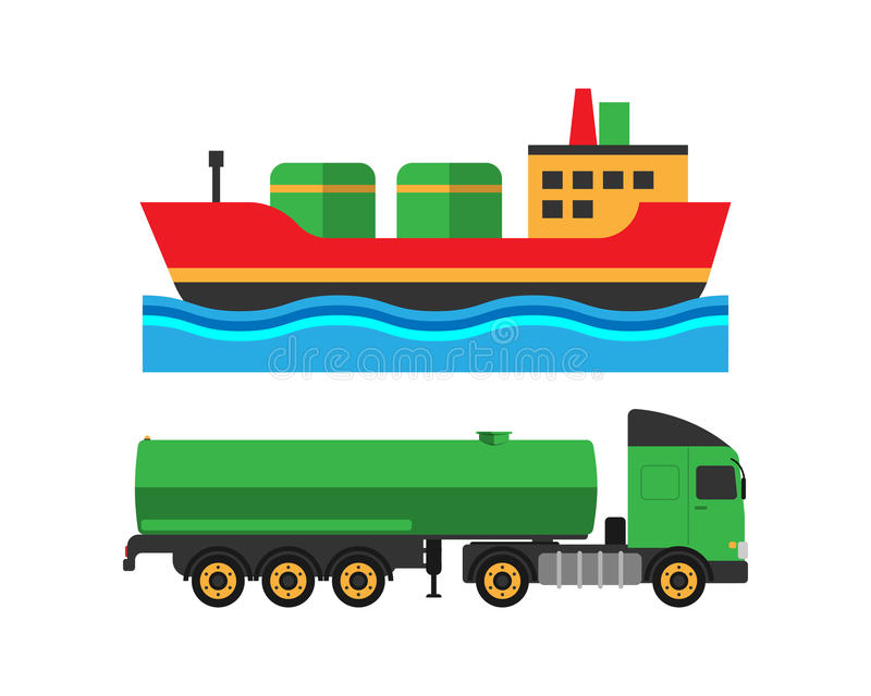Oil extraction truck shipping and ship transportation vector illustration vector illustration