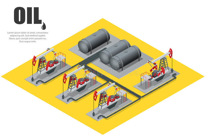 Oil field extracting crude oil. Oil pump. Oil industry equipment. Flat 3d Vector isometric illustration. Oil field extracting crude oil. Oil pump. Oil industry vector illustration