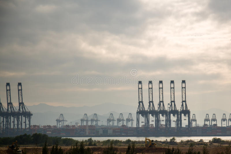 Oil field on ocean royalty free stock photography