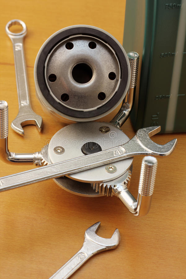 Oil filter wrench stock image