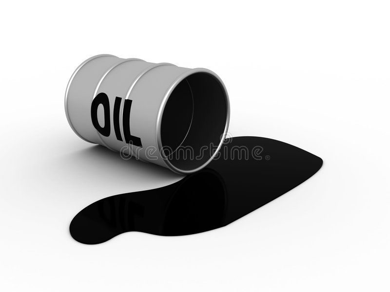 Oil flank. 3d illustration of oil flank accident on white background royalty free illustration