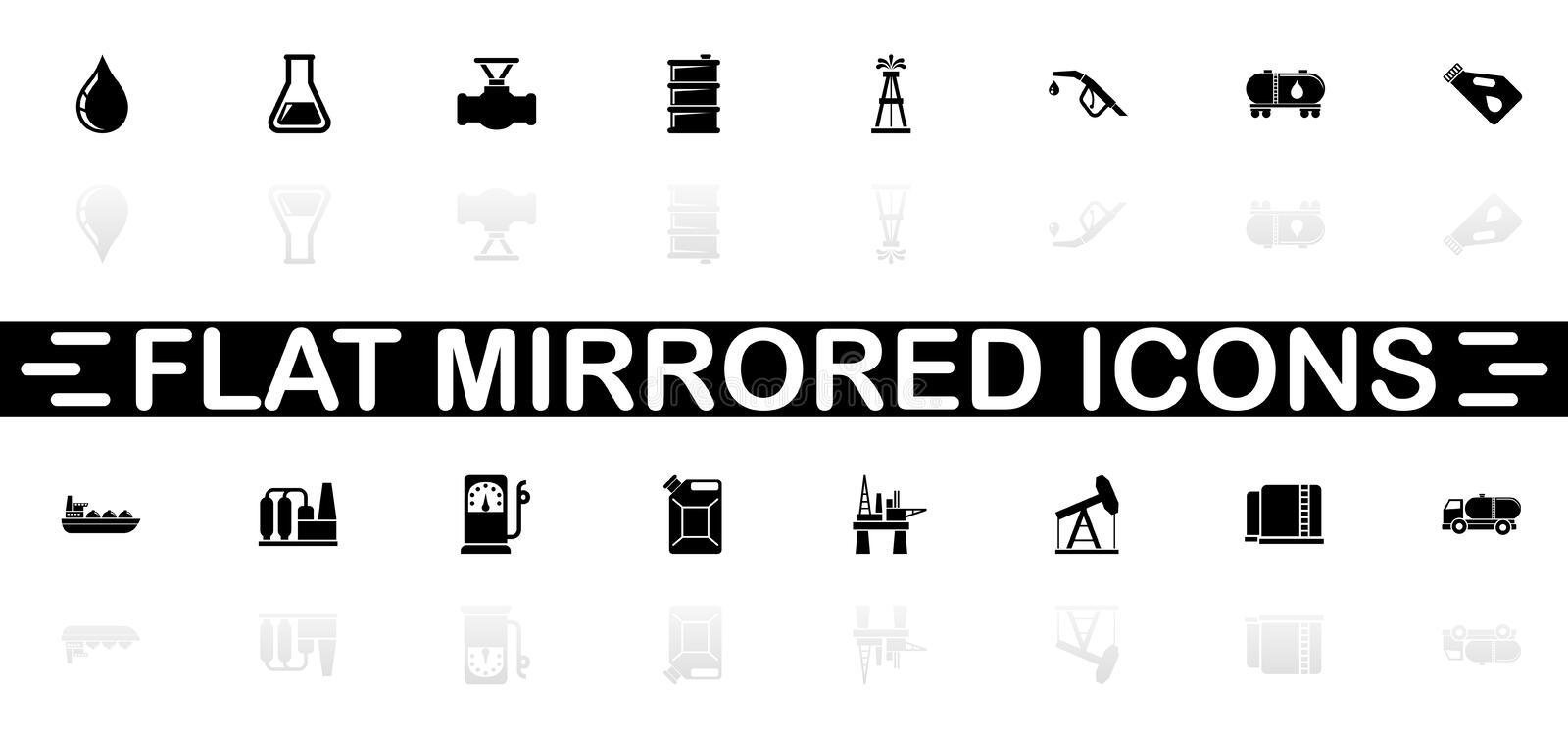Oil - Flat Vector Icons. Oil icons - Black symbol on white background. Simple illustration. Flat Vector Icon. Mirror Reflection Shadow. Can be used in logo, web vector illustration