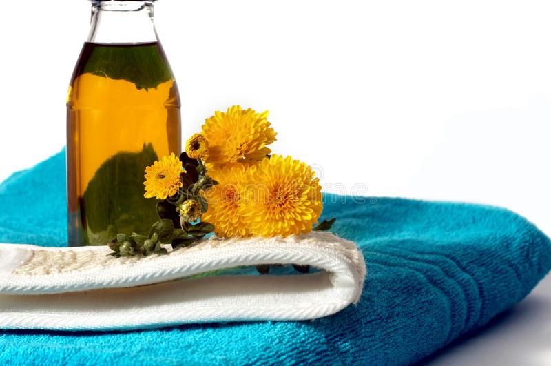 Oil and flowers royalty free stock image