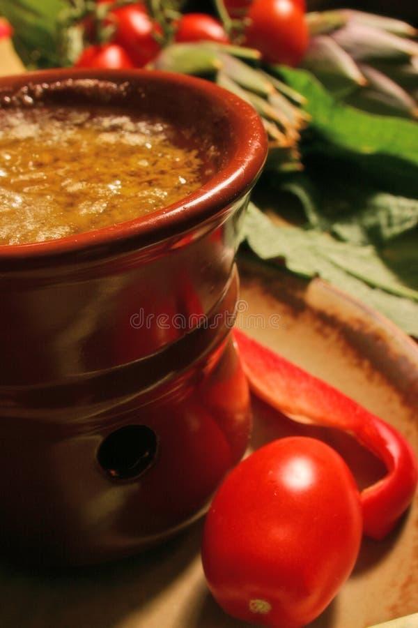 Oil food, bagnacauda royalty free stock photography