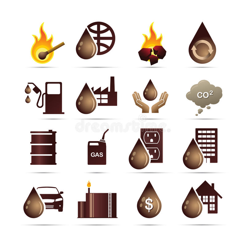 Oil and Fossil Fuel Energy Icons. This is a collection of icons depicting fossil fuel related icons. The icons depict ignition based energy produced via oil stock illustration