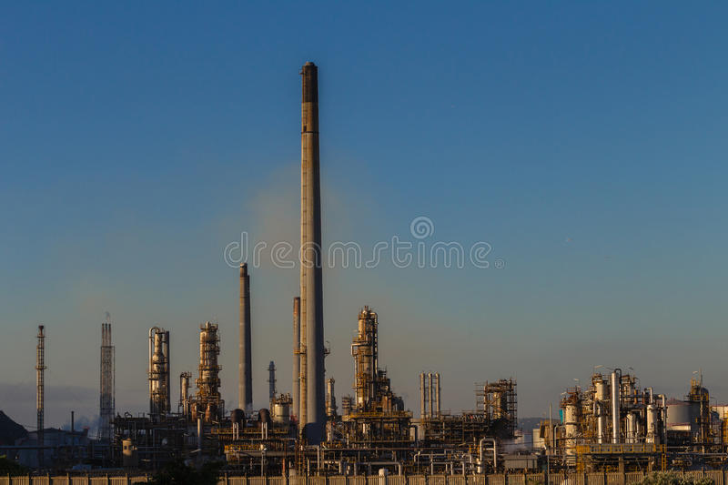 Oil Fuel Refinery Plant. Photo image overlooking petroleum oil fuel refinery manufacturing production plant in Durban South Africa stock photos