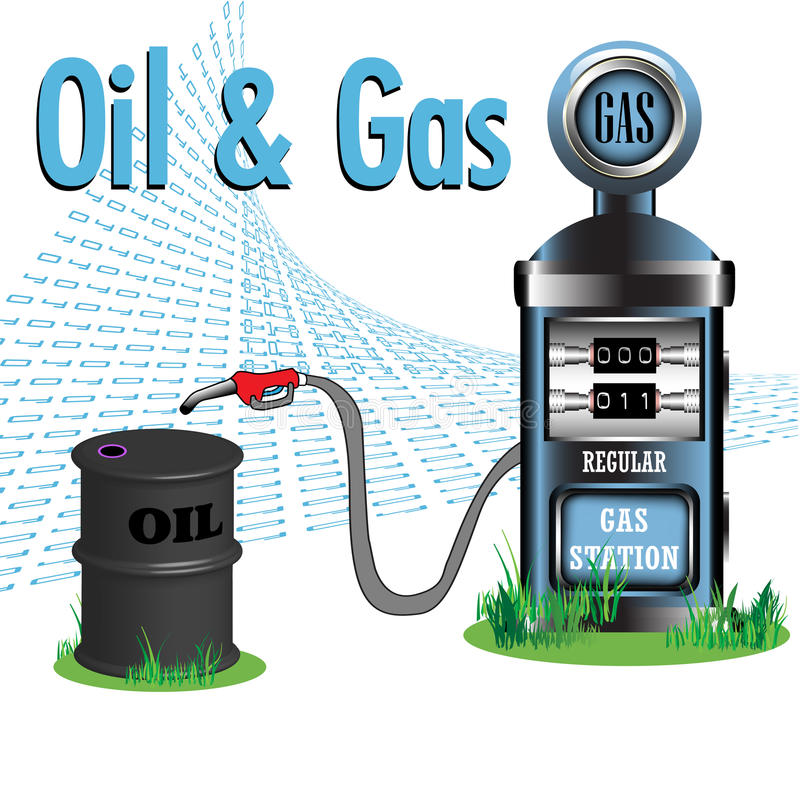 Oil and gas. Abstract colorful background with gas pump and an oil barrel. Oil and gas resources concept vector illustration