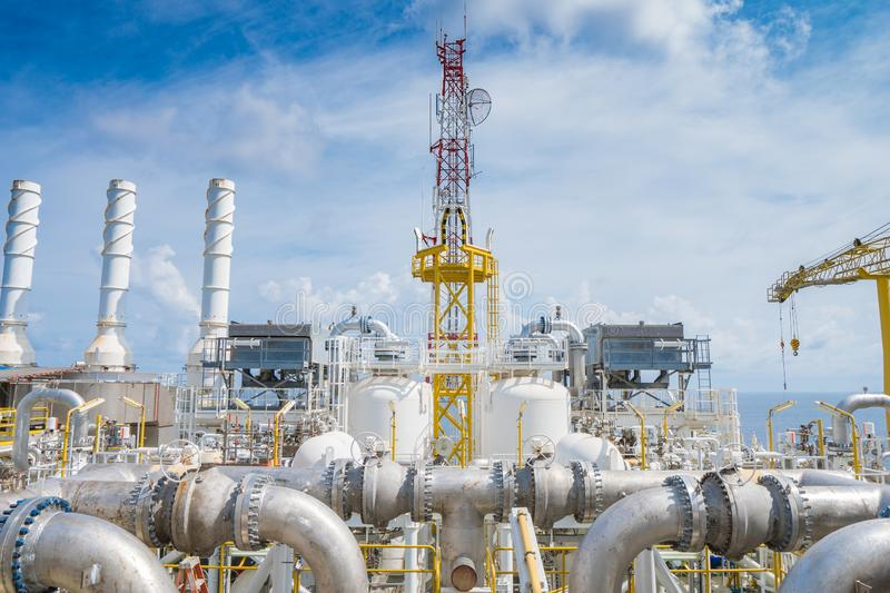 Oil and gas central processing platform at the top of deck floor. stock photo