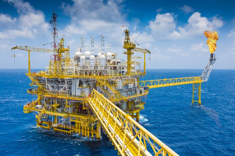 Oil and gas central processing platform at the top of deck floor. Oil and gas central processing platform at the top of deck floor where located gas dehydration stock photo
