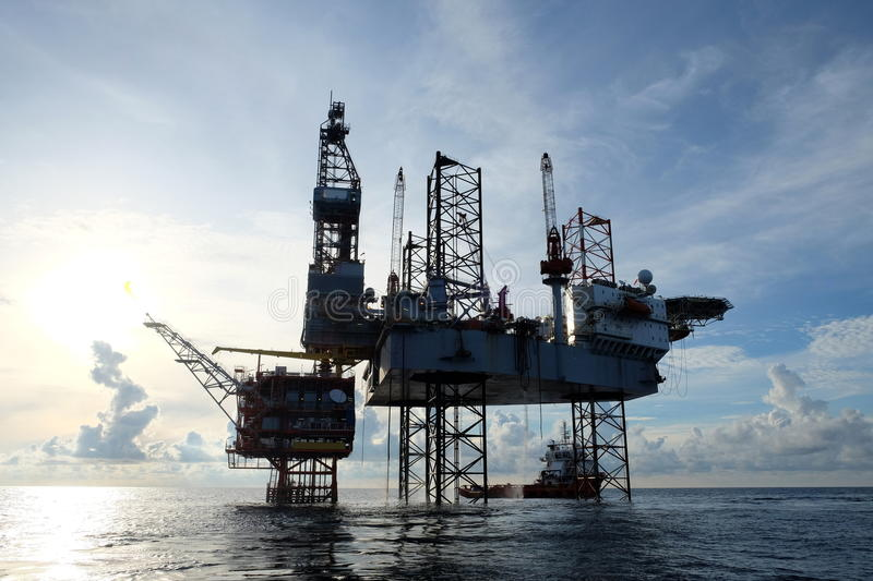 Oil and gas construction in the sea royalty free stock images
