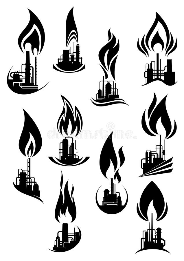 Oil And Gas Factories Black Icons Stock Vector Image