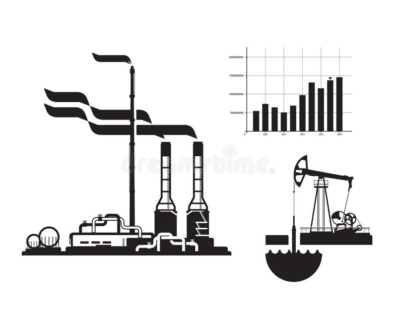 Oil and gas. Factory icons. Icons on white background royalty free illustration