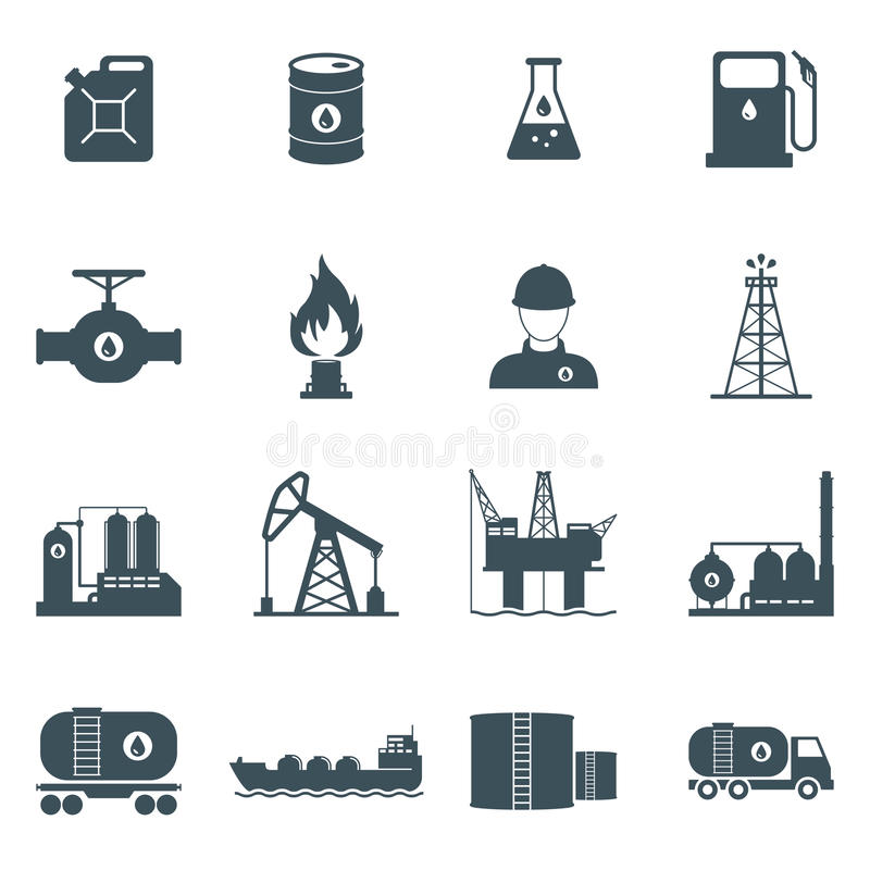 Oil And Gas Icon Set Stock Vector Image Of Oilman Fuel