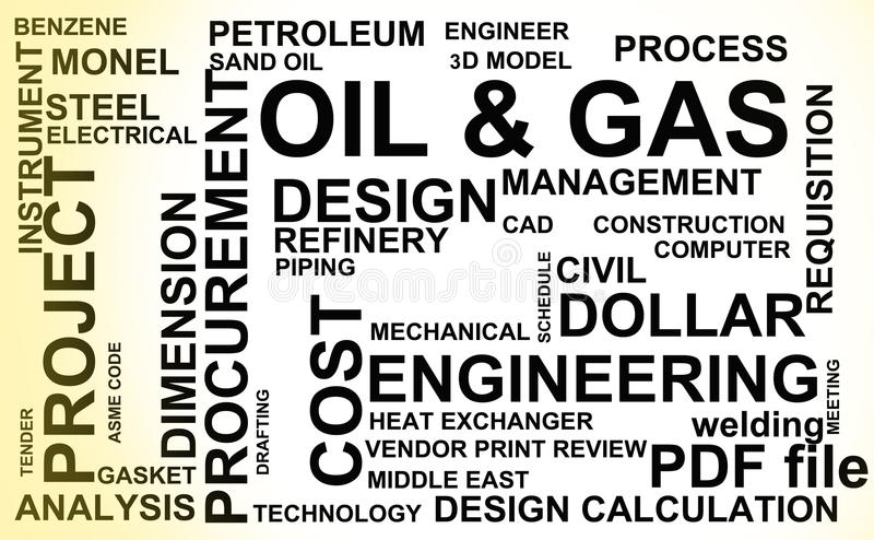 Oil and Gas industry. Words common in the field of Oil and Gas industry vector illustration