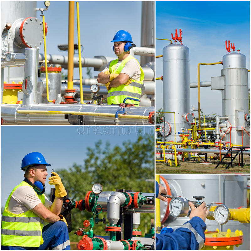 Oil and gas industry. Collage of oil and gas industry engineer on plant stock photography