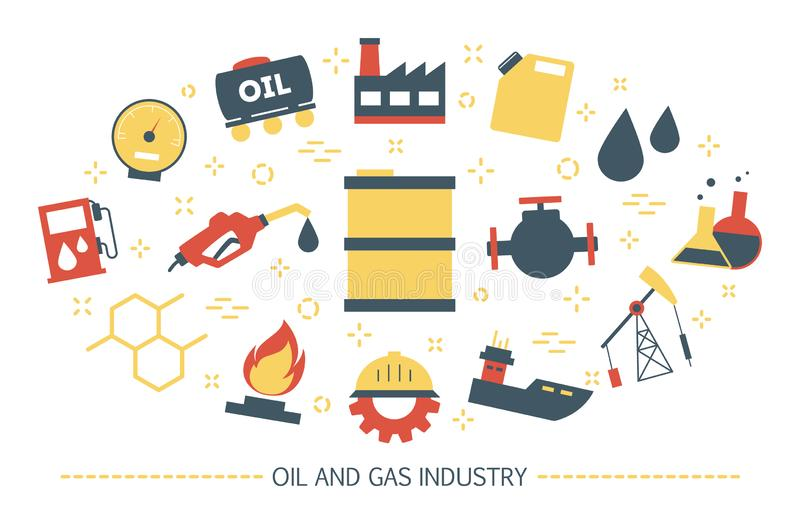 Oil and gas industry concept. Fuel factory, barrel with diesel. Idea of gasoline production. Collection of colorful icons. Isolated flat vector illustration vector illustration
